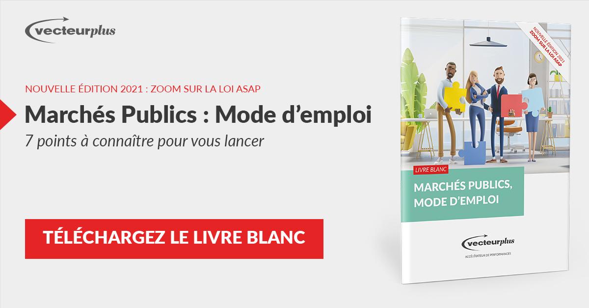 Illustration et bouton de téléchargement du livre blanc marchés publics, mode d'emploi