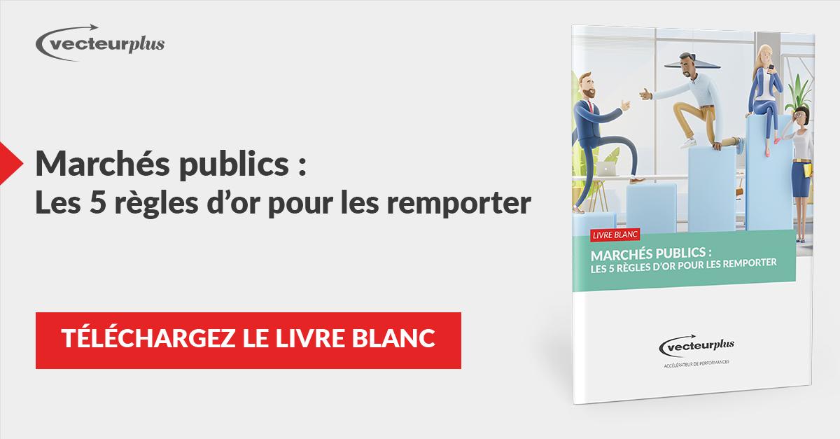 Illustration et bouton de téléchargement livre blanc remporter des marchés publics