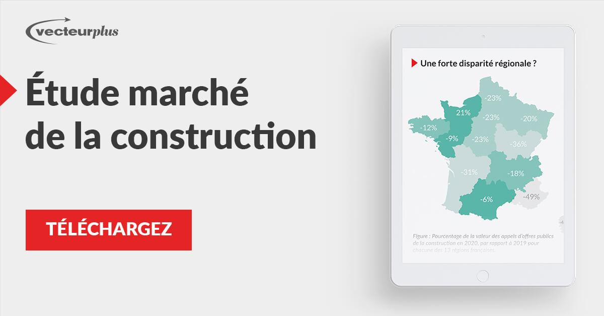 Illustration et bouton de téléchargement de l'infographie des marchés de la construction