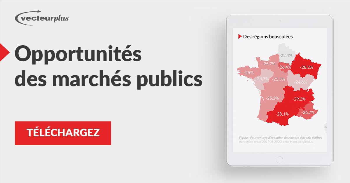 Illustration et bouton de téléchargement de l'infographie des marchés de la commande publique
