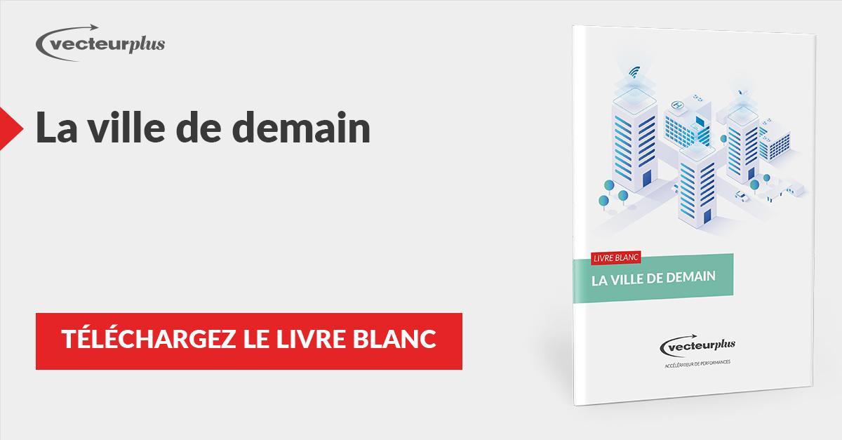 Illustration et bouton de téléchargement du livre blanc Ville de demain