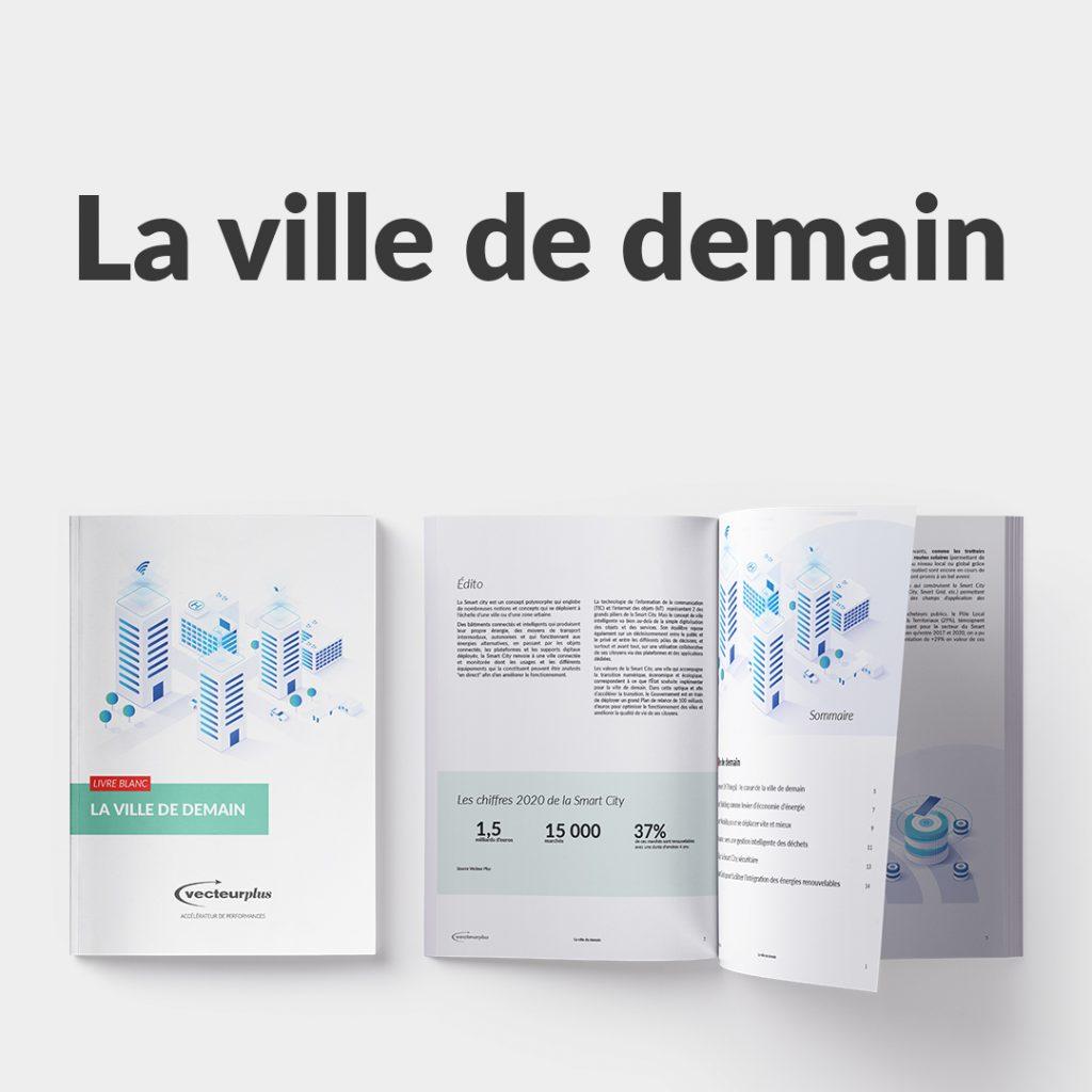 Illustration du livre blanc : la ville de demain et tous les concepts de la Smart City