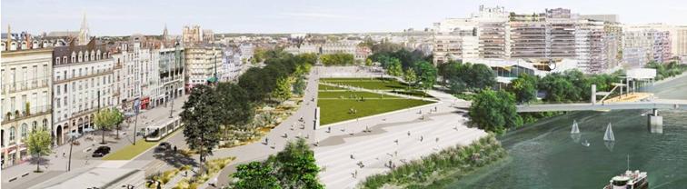 Illustration de synthèse de Nantes lorsque le centre ville sera verdi