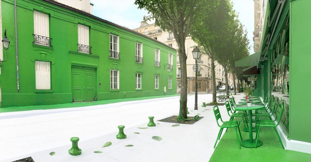 Illustration d'une expérience à Paris où la route a été peinte en blanc et les bâtiments en vert