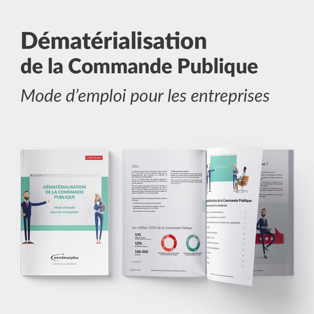 Illustration avec bouton de téléchargement du livre blanc : dématérialisation de la commande publique, mode d'emploi