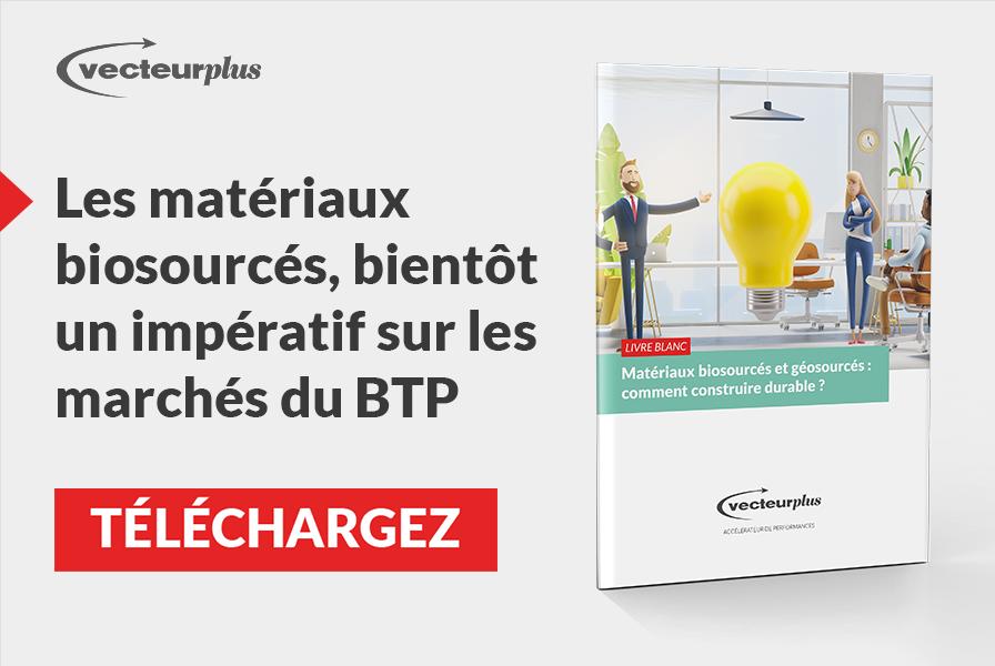 Illustration et bouton de téléchargement du livre blanc sur les matériaux de construction à moindre impact environnemental
